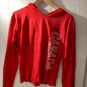 Nike red hoodie, size XL but slim fit more like M